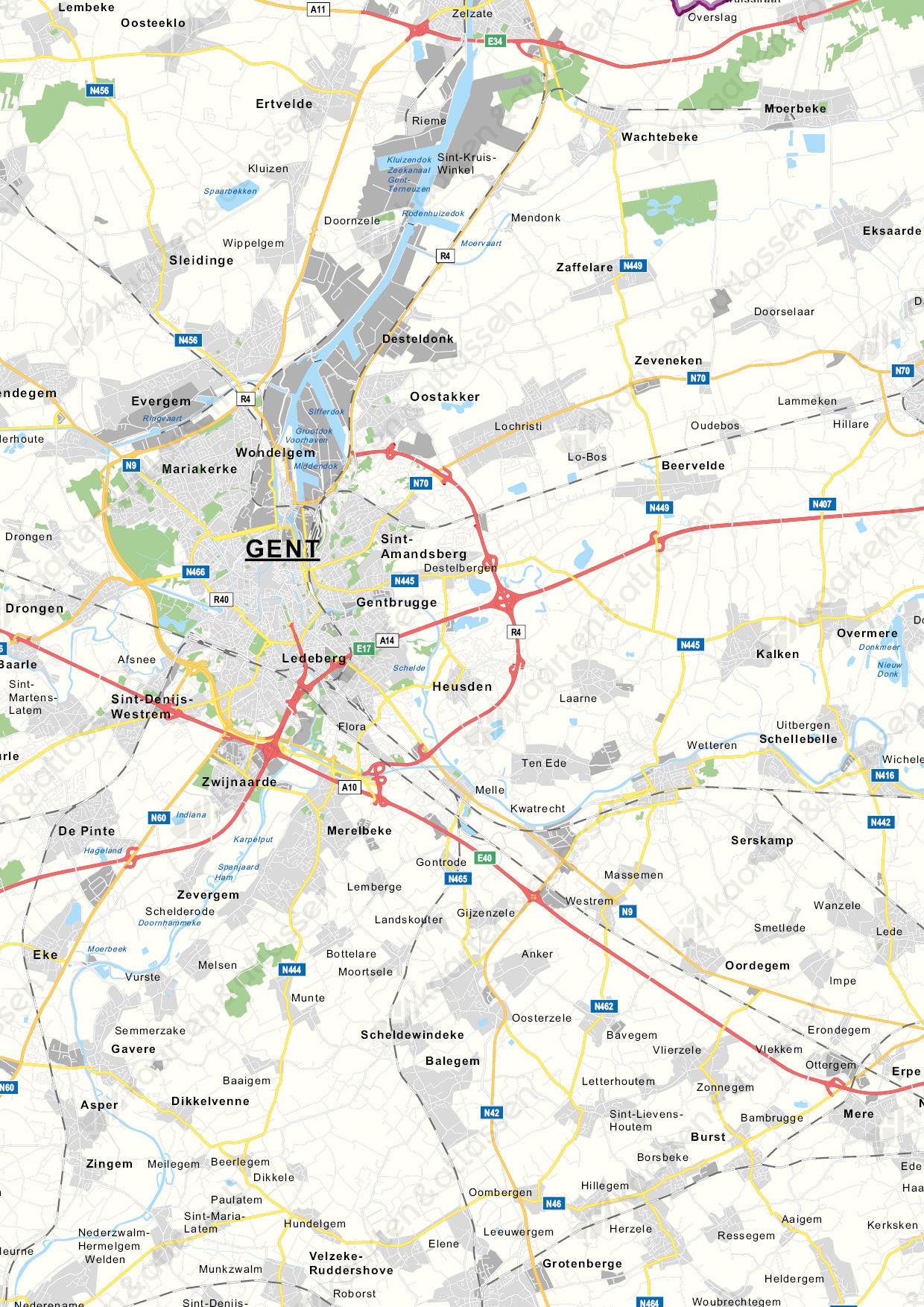 Oost-Vlaanderen Provinciekaart