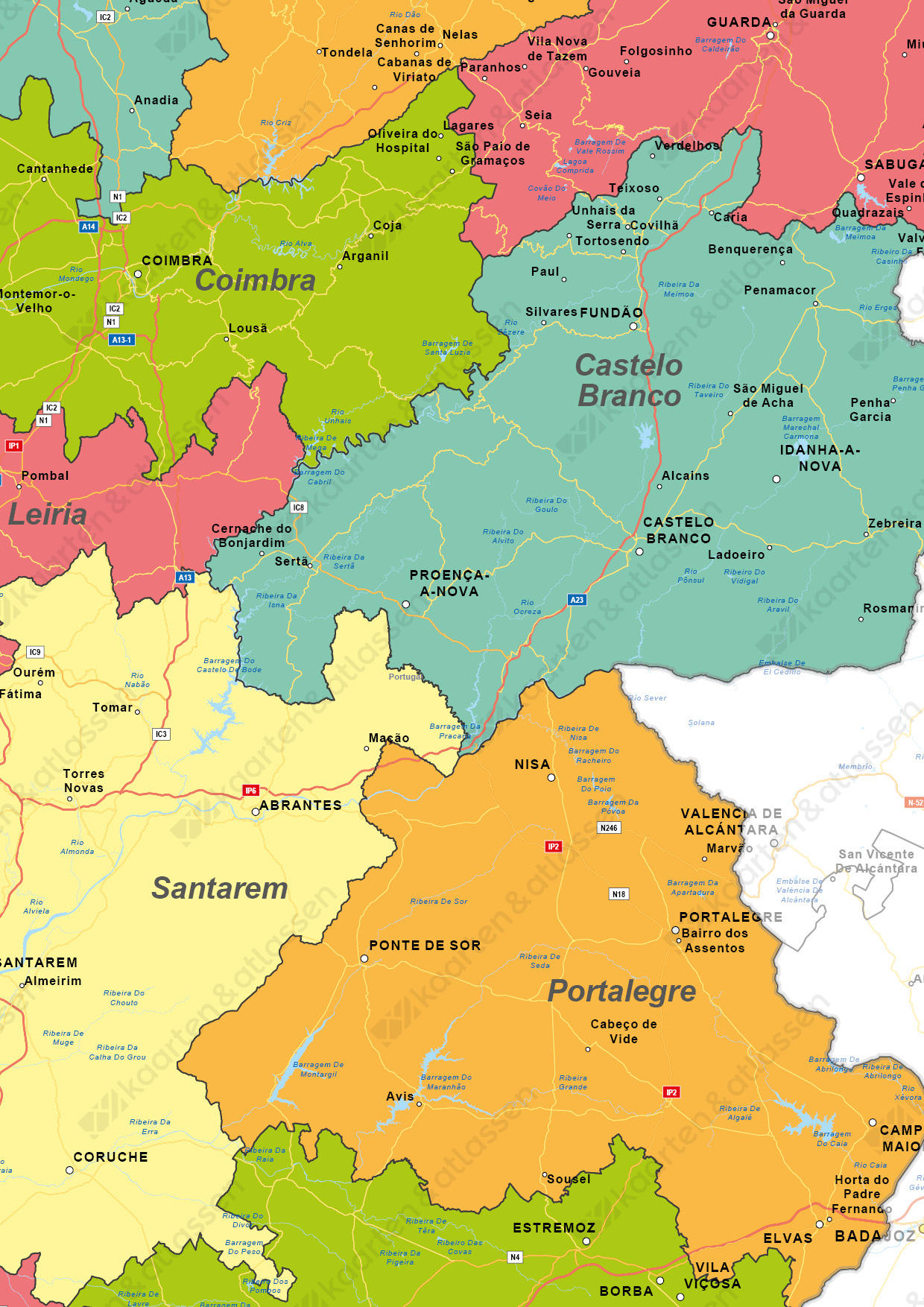 Portugal Digitale Landkaart
