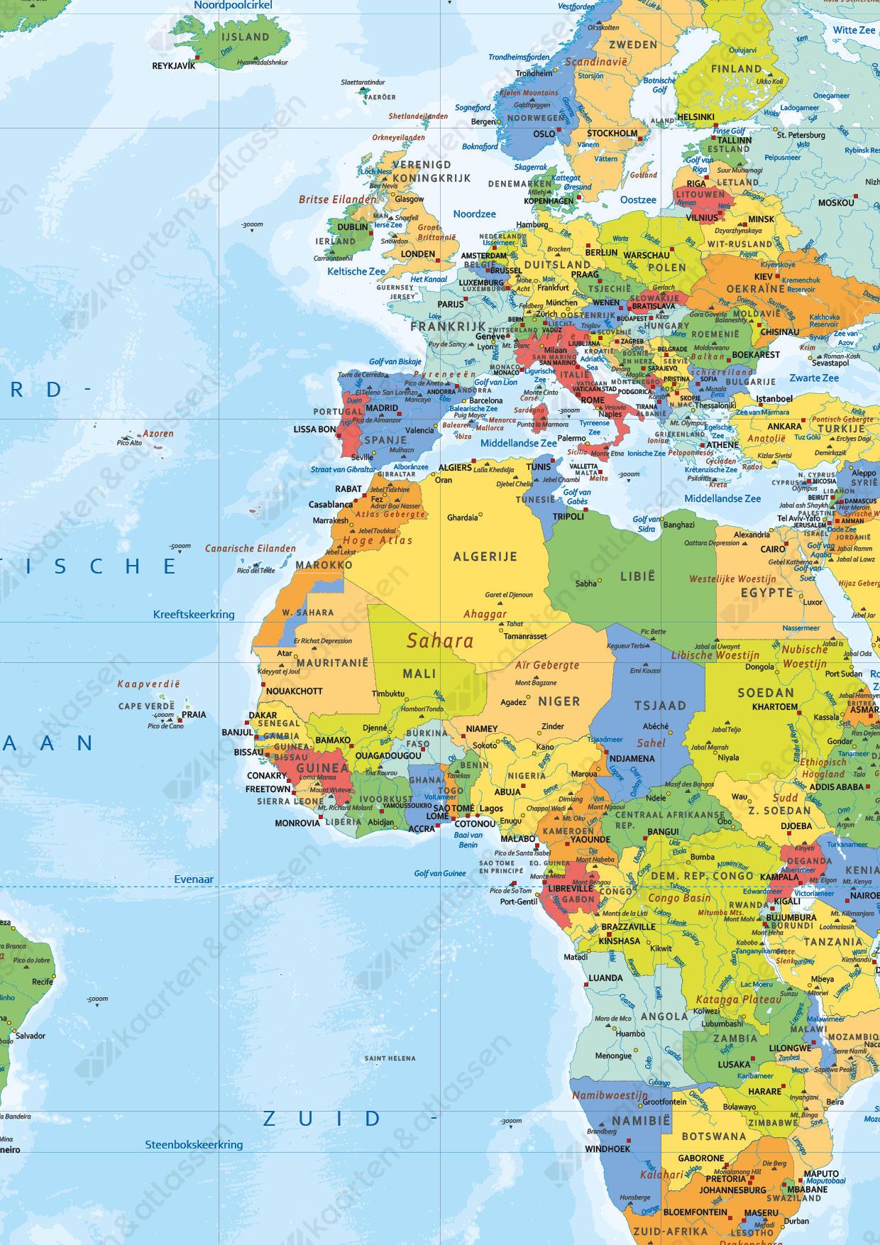 Wereldkaart Staatkundig Nederlandstalig