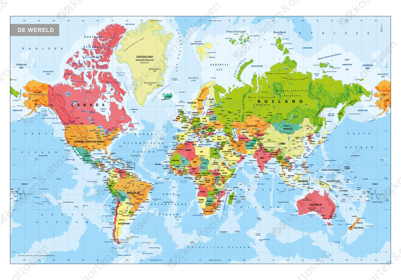 Digitale Wereldkaart Staatkundig 315 Kaarten En Atlassen Nl