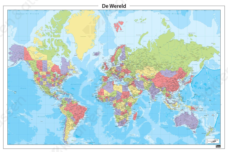 wereldkaart nederlandstalig 321 | kaarten en atlassen.nl