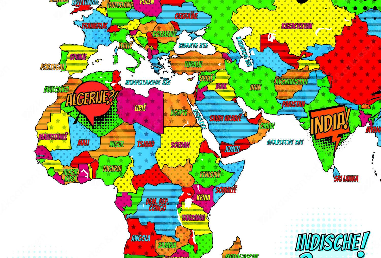 Popart Wereldkaart