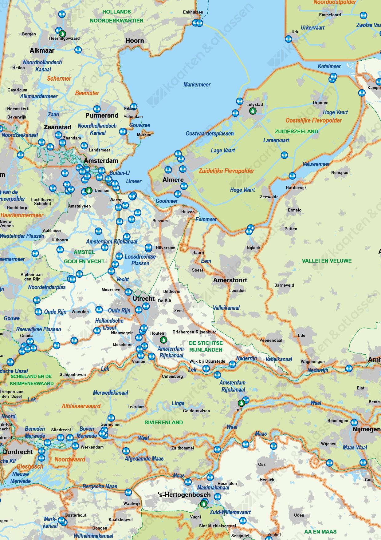 Waterkaart van Nederland