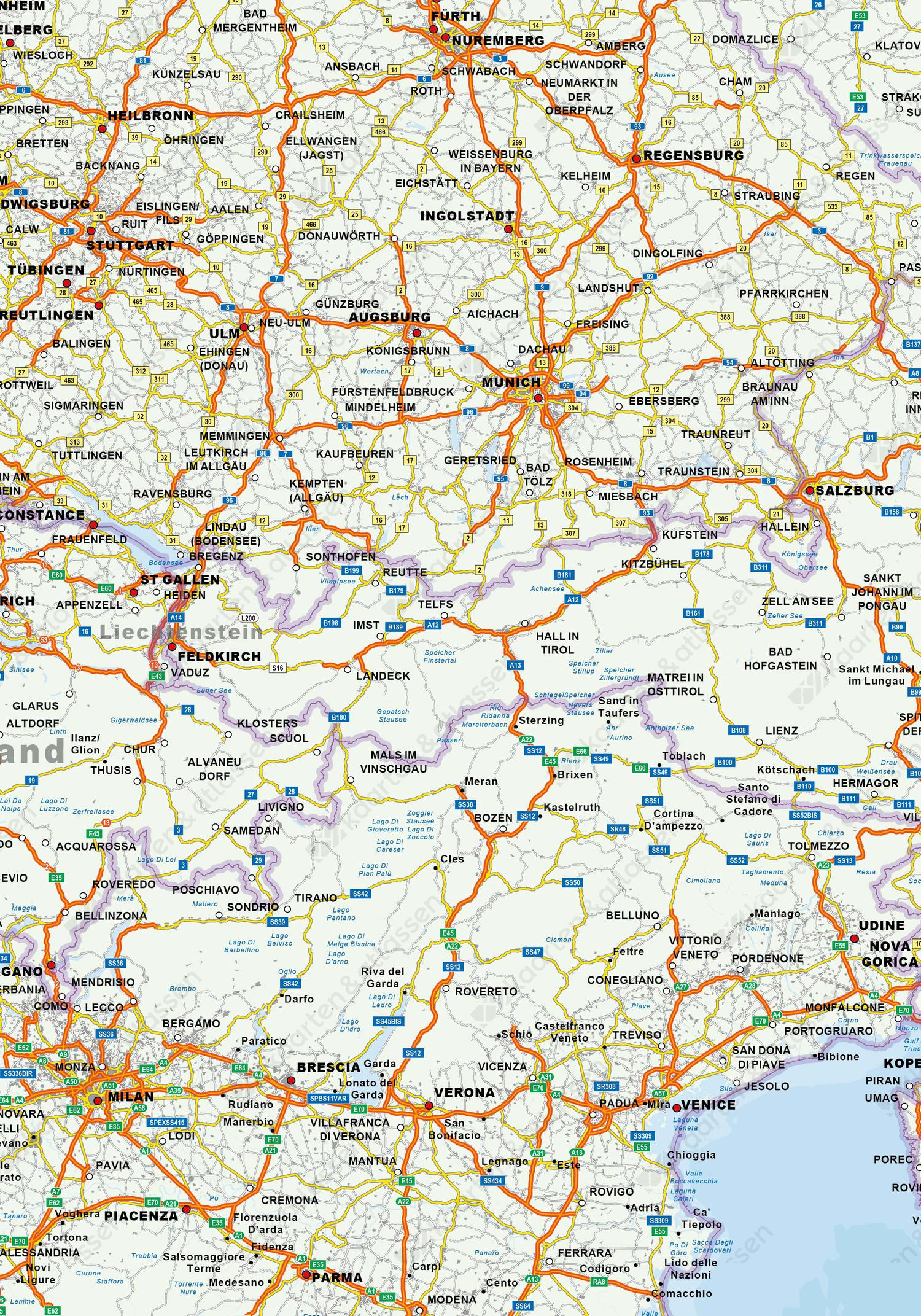 wegenkaart Europa sample