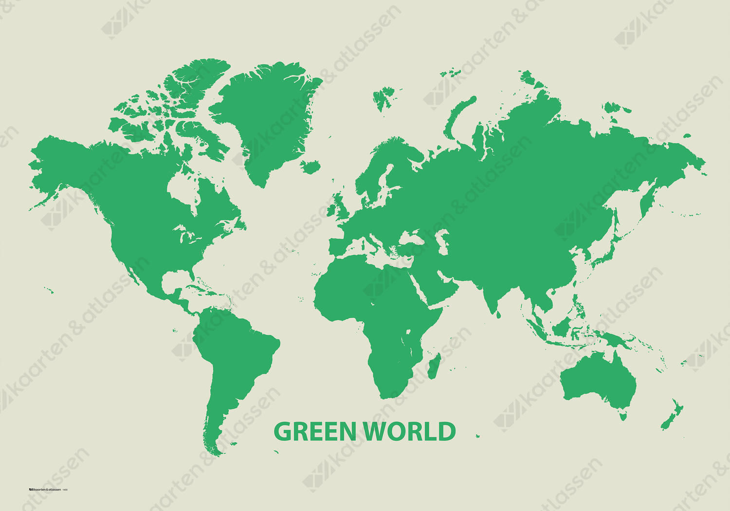 Decoratieve Wereldkaart Green World 1400