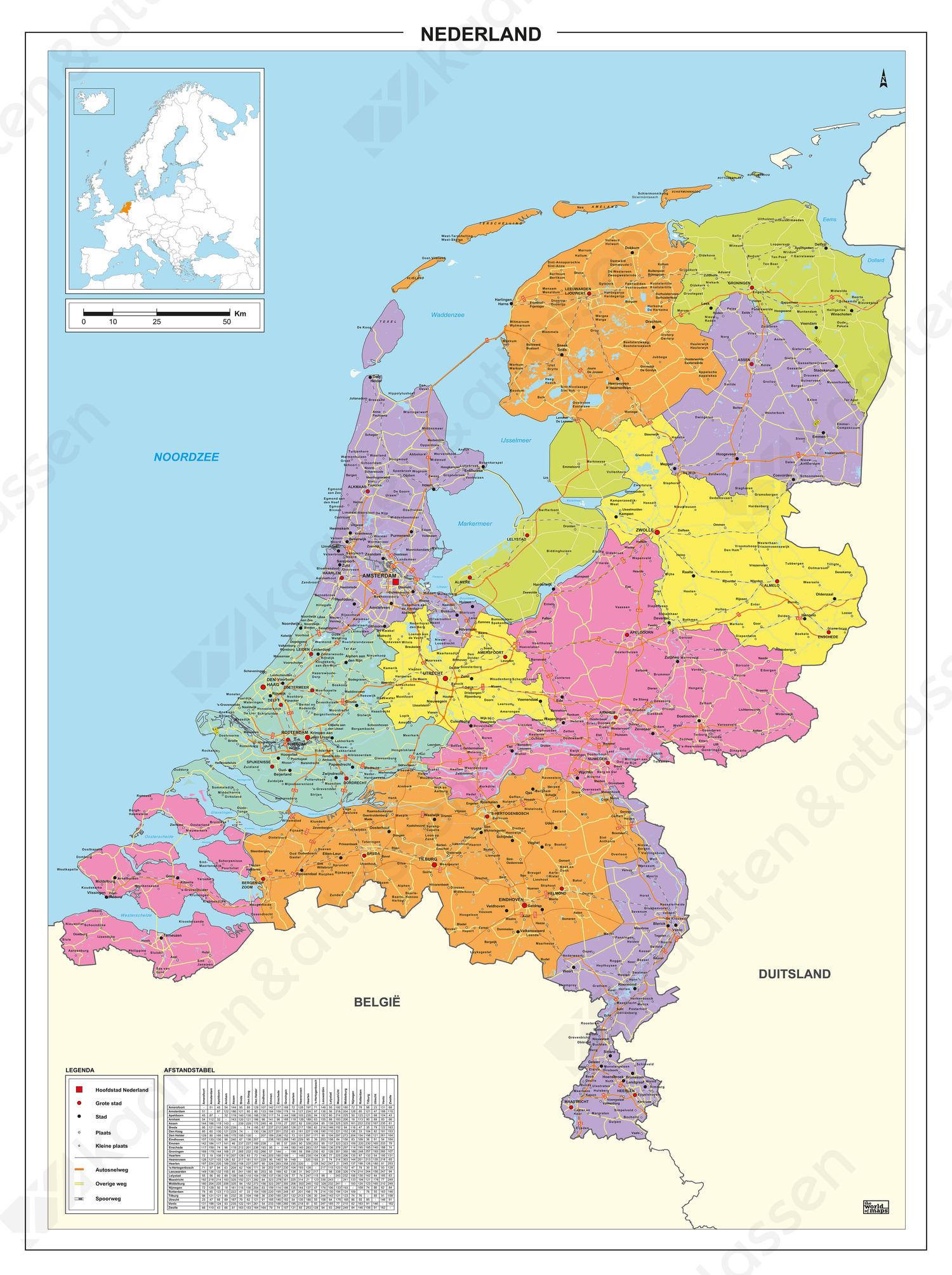 Kaart van Nederland met legenda en afstandstabel