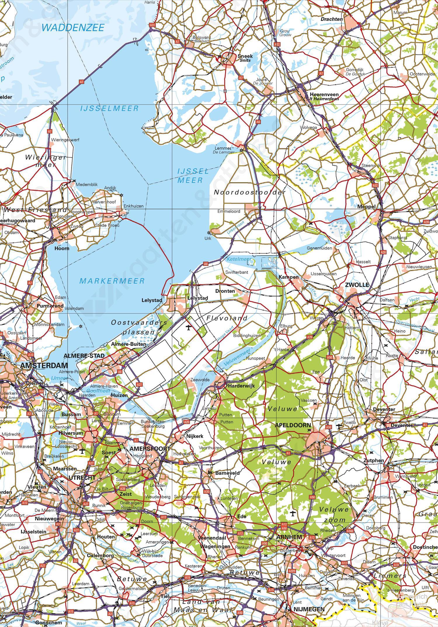 Topografische kaart Nederland