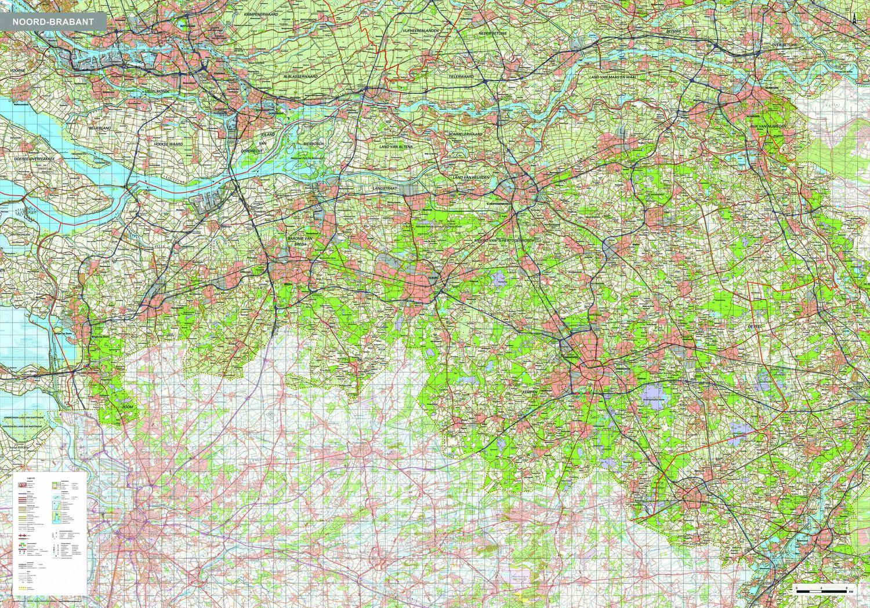 Topografische kaart Noord-Brabant 1:100.000