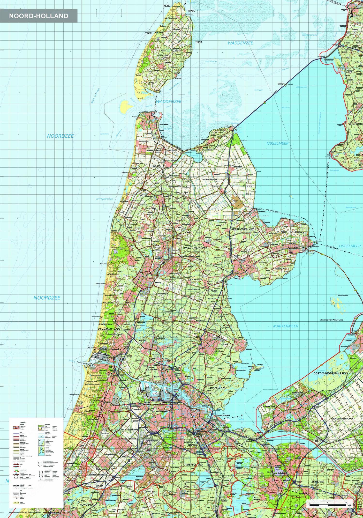 Topografische kaart Noord-Holland 1:100.000