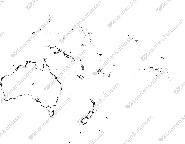 Gratis digitale kaart Oceanië