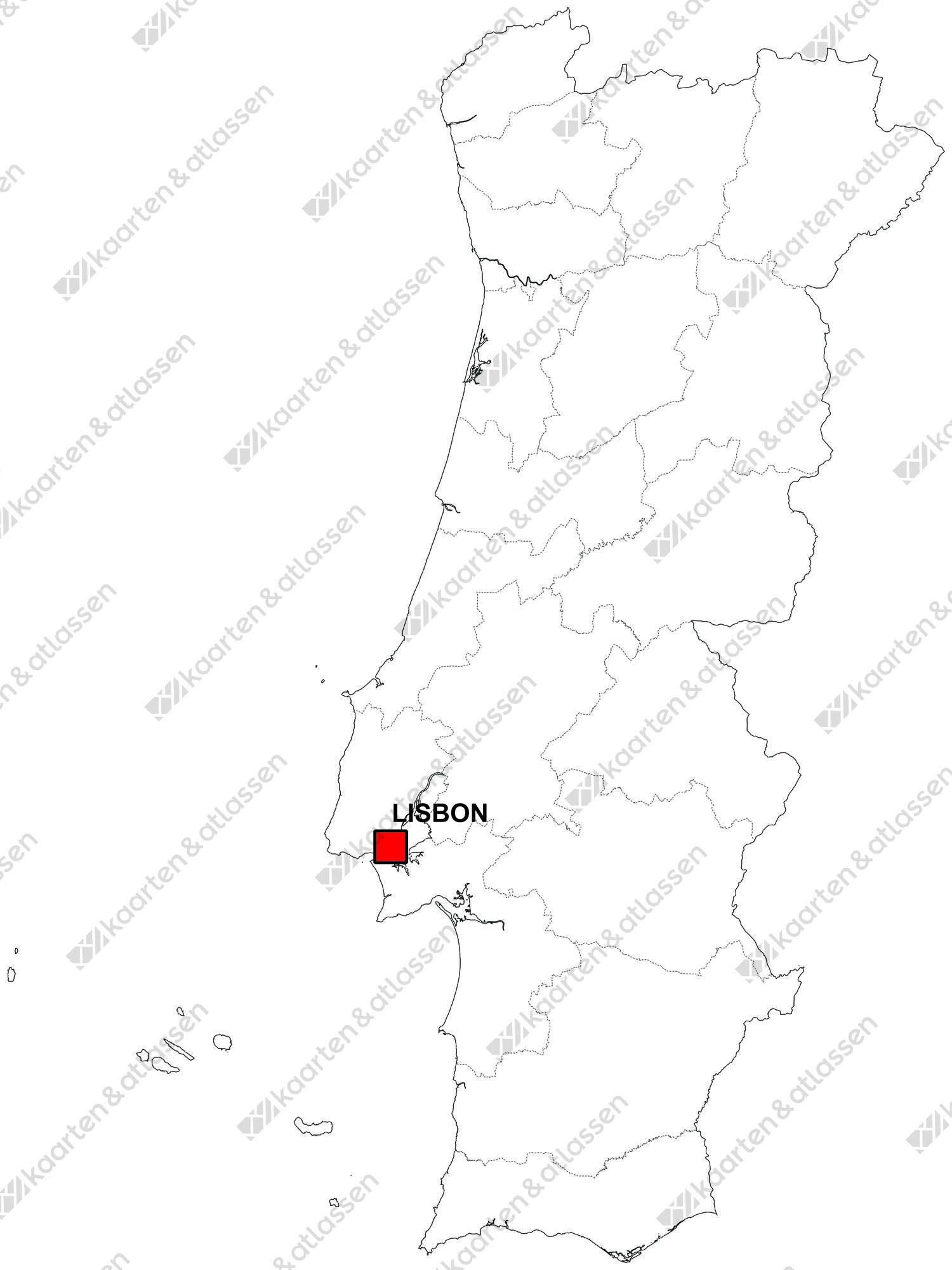 Gratis digitale kaart Portugal