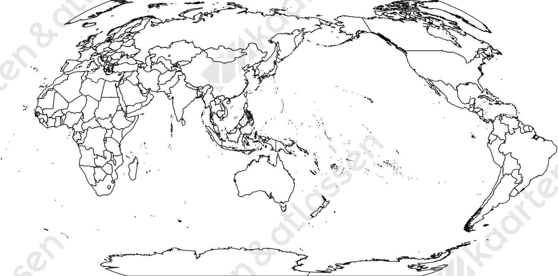Digitale wereldkaart Robinson projectie (gratis)