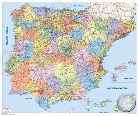 Postcodekaart Spanje En Portugal Kaarten En Atlassen Nl