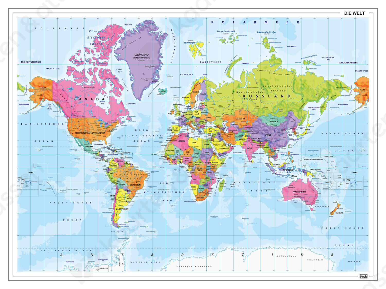 Staatkundige wereldkaart Duitstalig