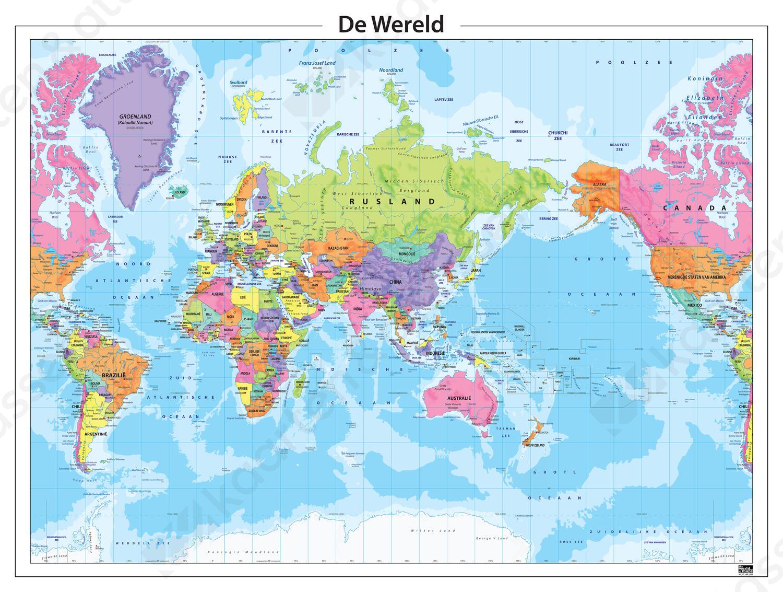 Staatkundige wereldkaart Azië centraal