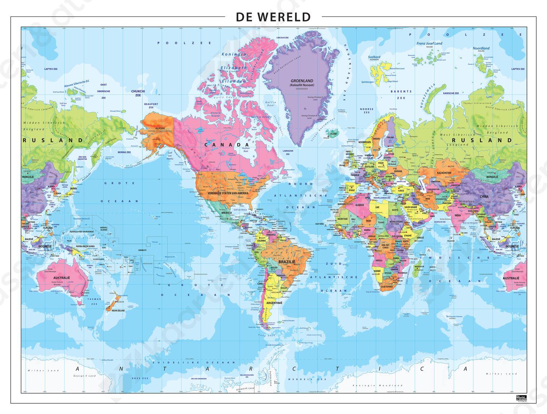 Staatkundige wereldkaart Amerika centraal