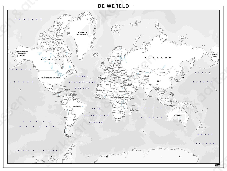 Staatkundige wereldkaart om zelf in te kleuren