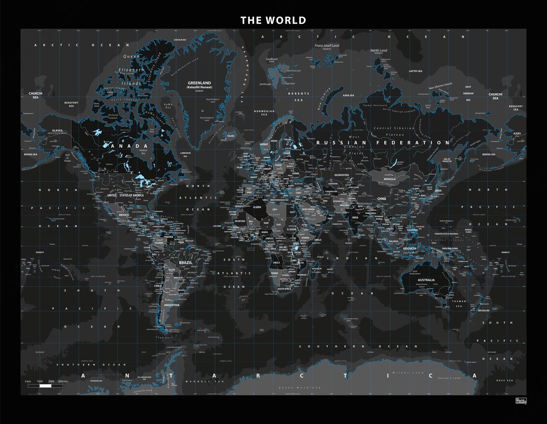Staatkundige wereldkaart Black Ice