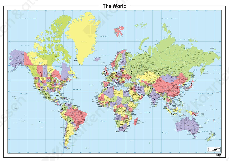 Staatkundige wereldkaart in groen, geel paars en rood