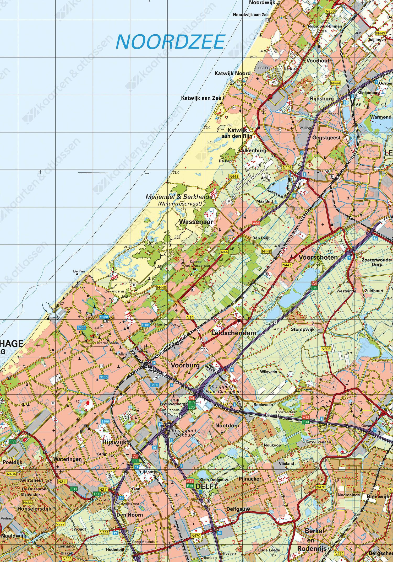 Kaart Zuid-Holland schaal 1:100.000