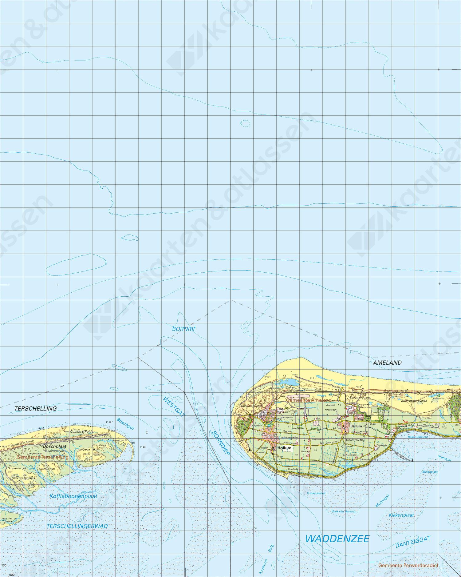 Topografische Kaart 1 Oost Terschelling