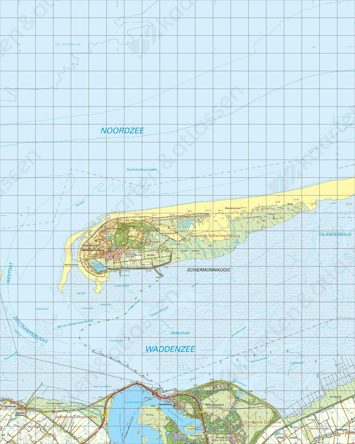 Topografische Kaart 2 Oost Schiermonnikoog