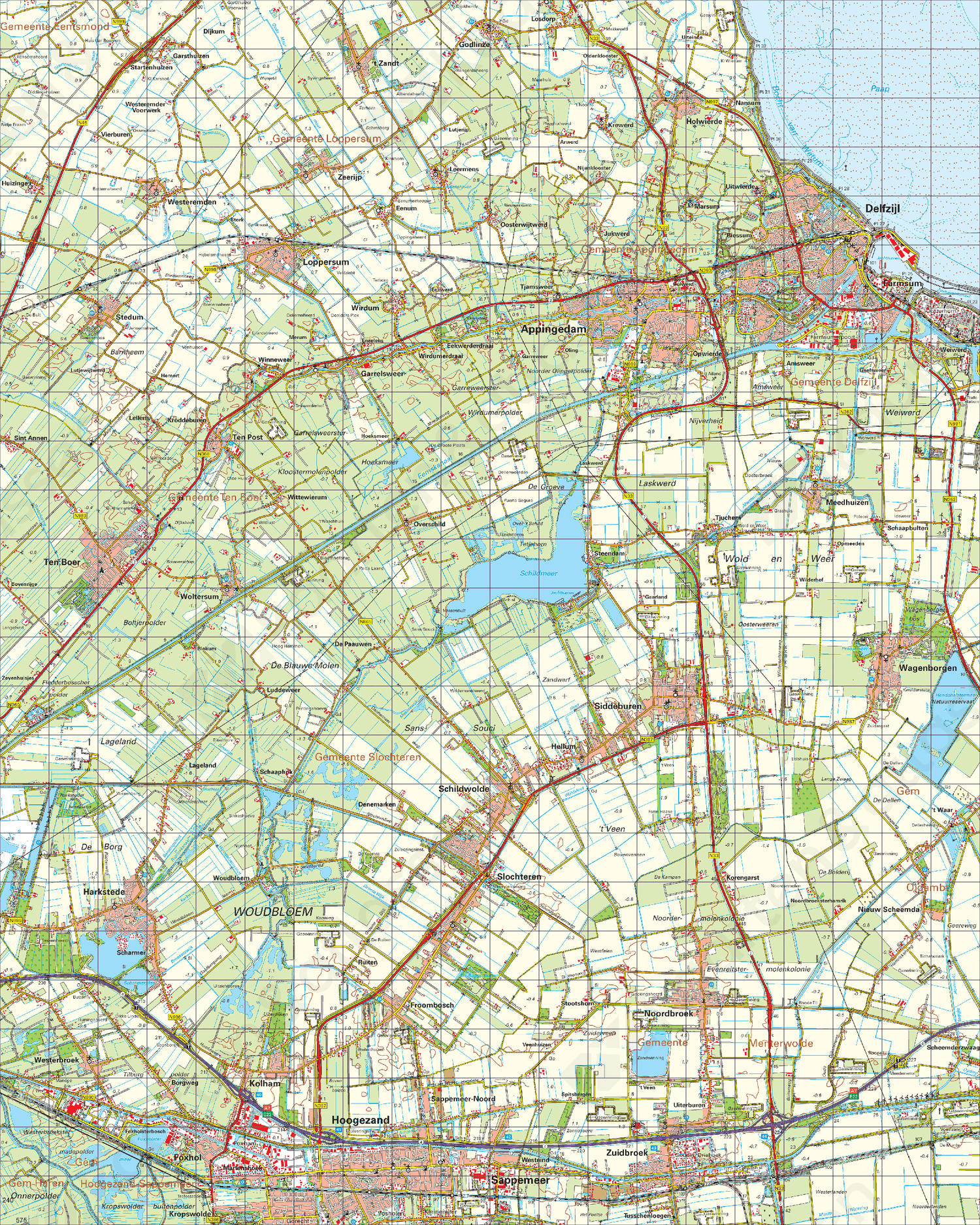 Topografische Kaart 7 Oost Groningen | Kaarten en Atlassen.nl