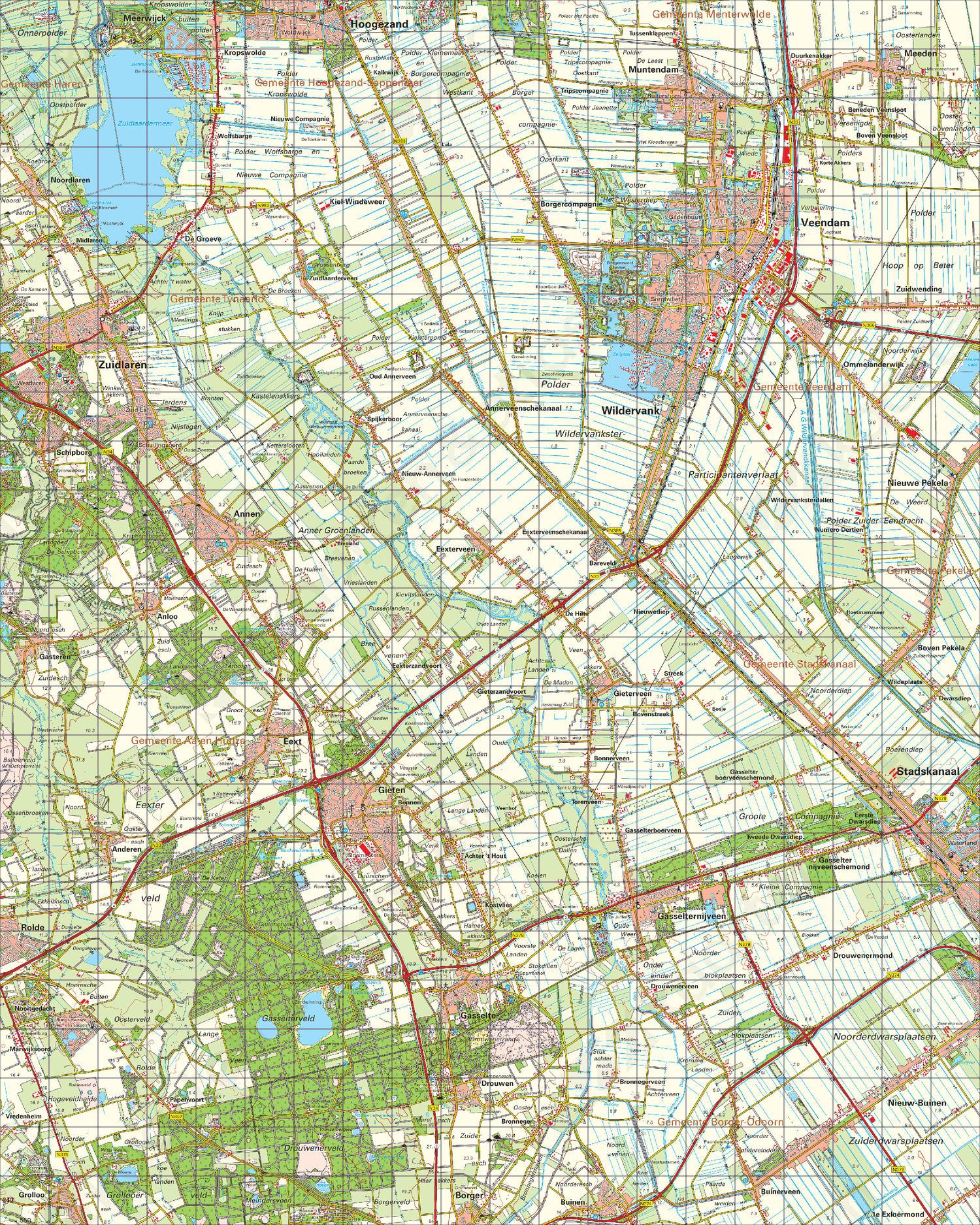 Topografische Kaart 12 Oost Assen