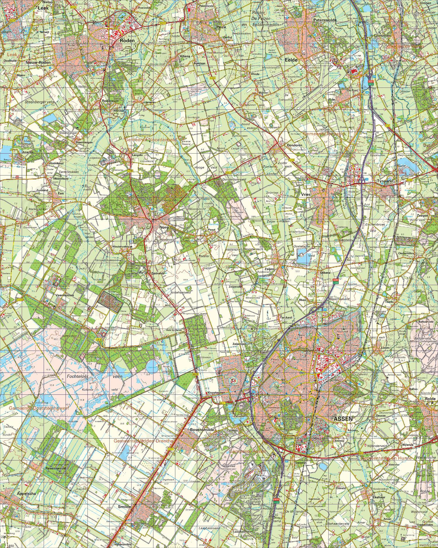Topografische Kaart 12 West Assen