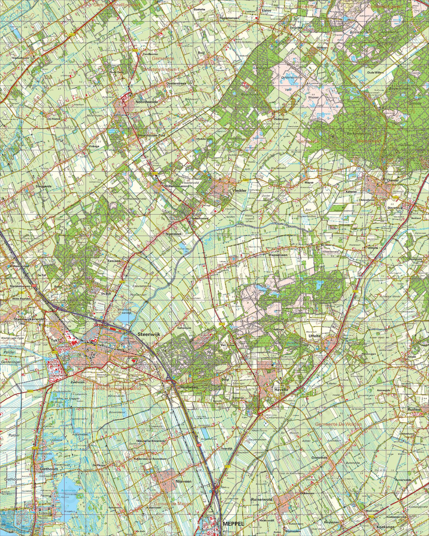 Topografische Kaart 16 Oost Steenwijk