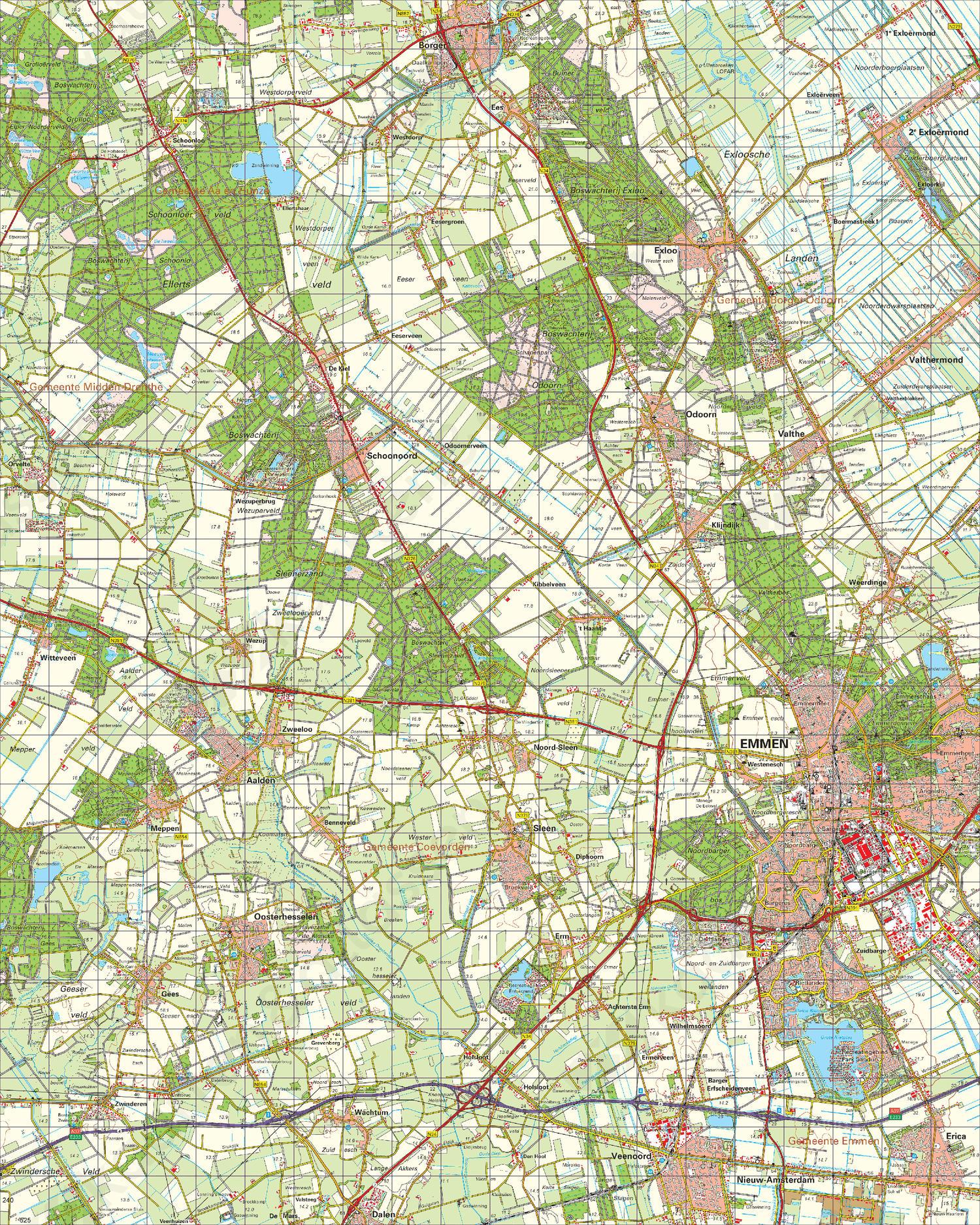 Topografische Kaart 17 Oost Emmen
