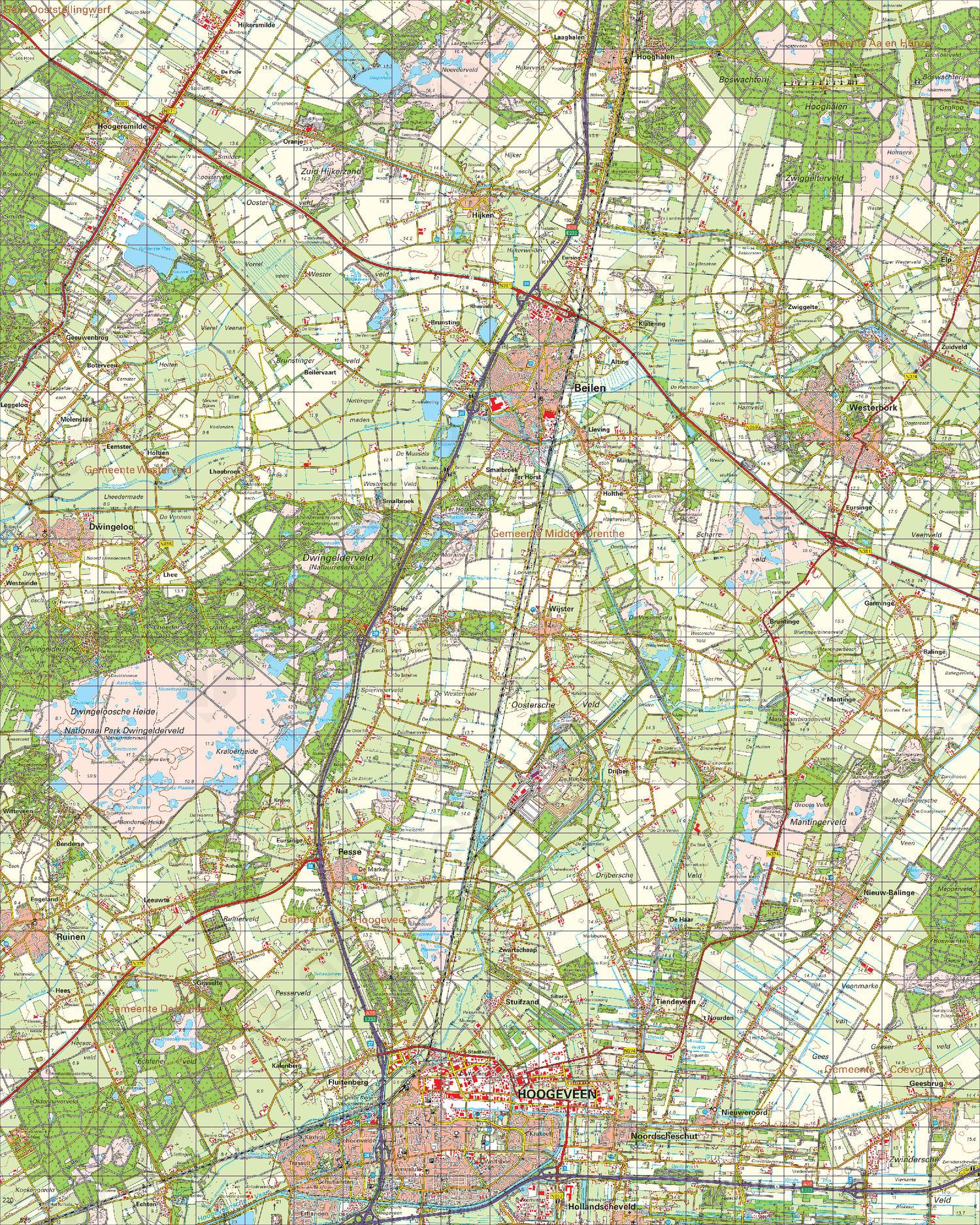 Topografische Kaart 17 West Emmen