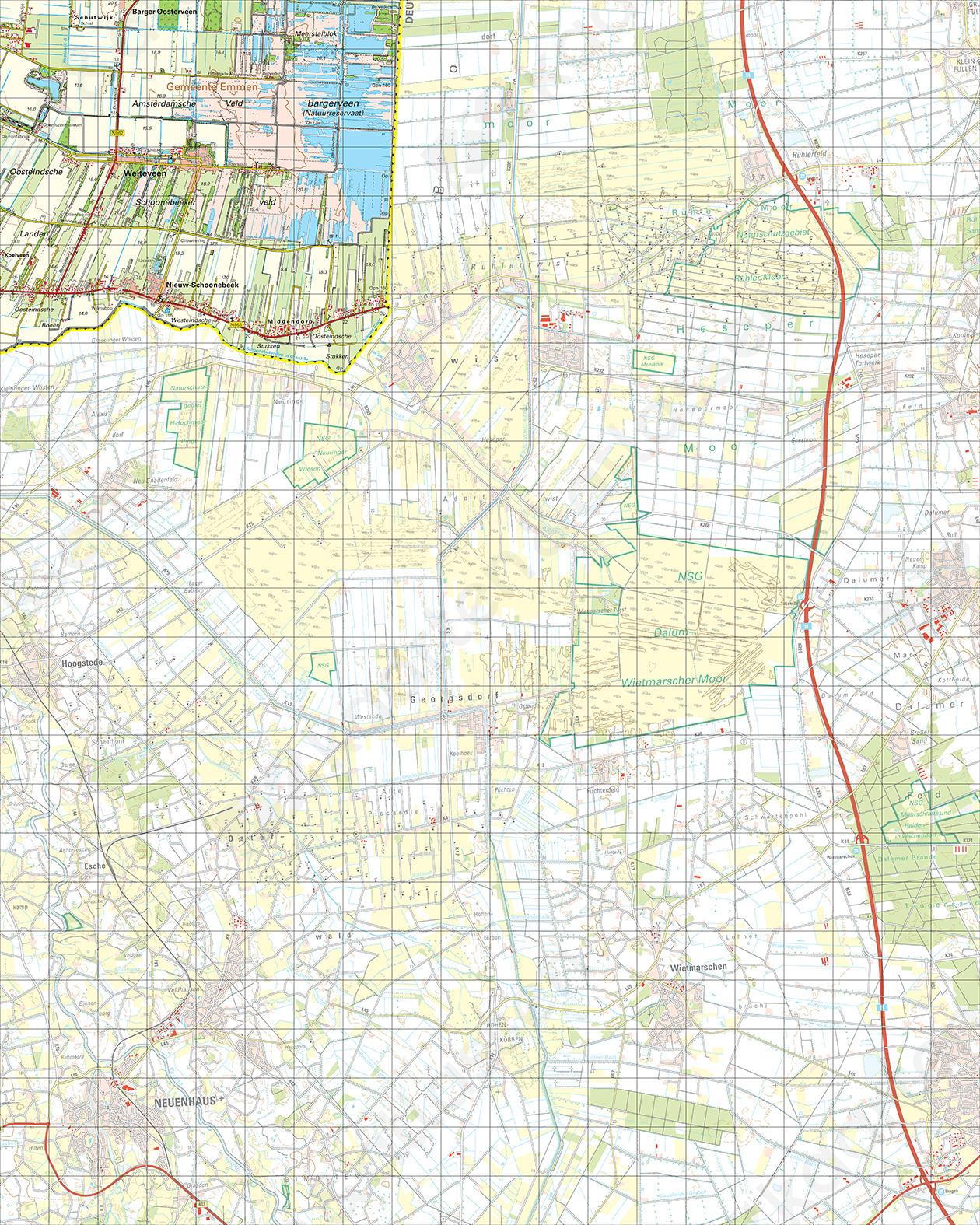 Topografische Kaart 23 West Nieuw-Schoonebeek