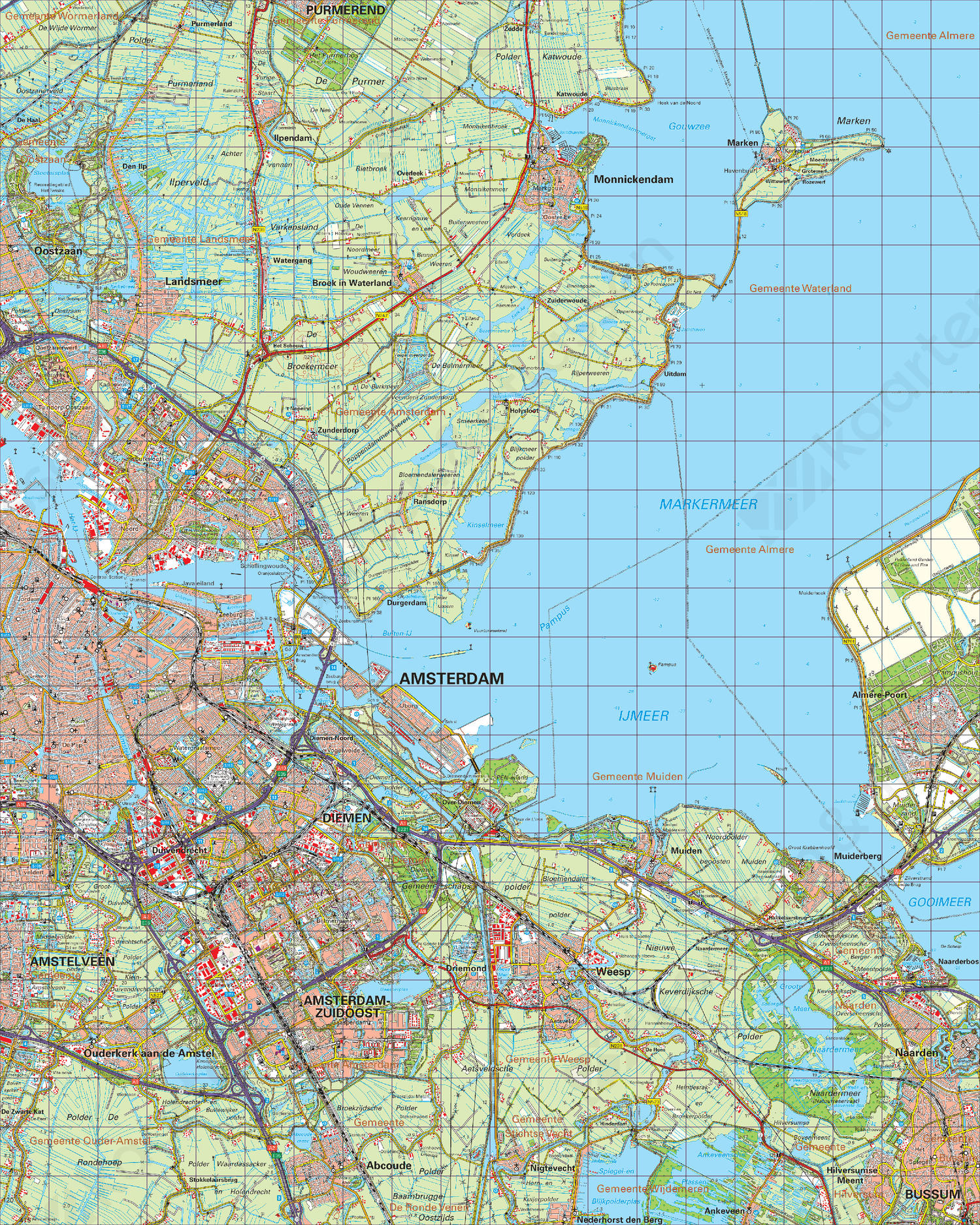 topografische kaart Topografische Kaart 25 Oost Amsterdam | Kaarten en Atlassen.nl