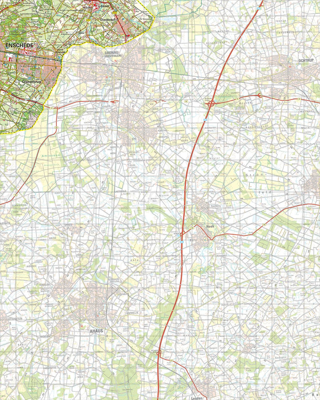 Topografische Kaart 35 West Glanerbrug