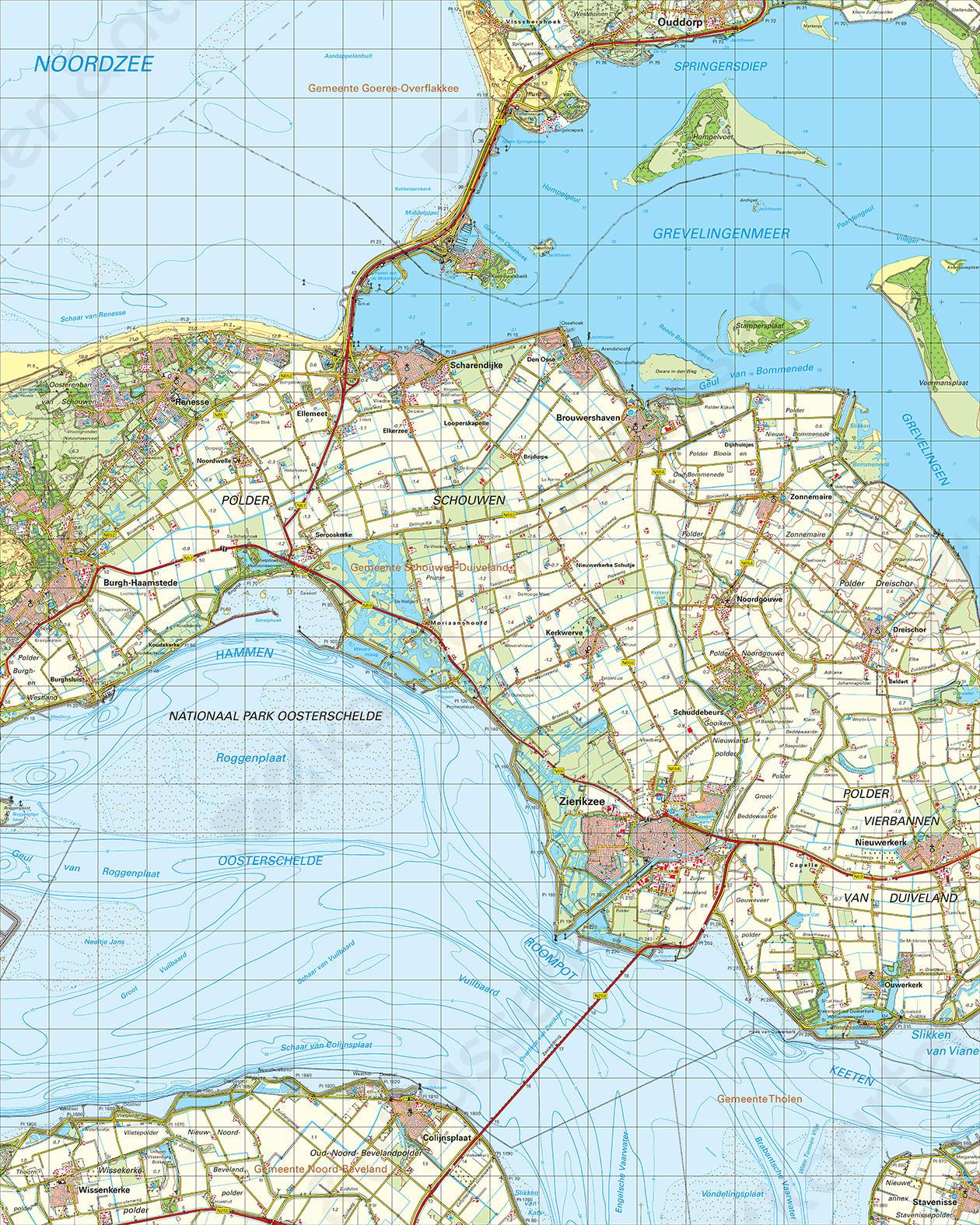 Topografische Kaart 42 Oost Zierikzee