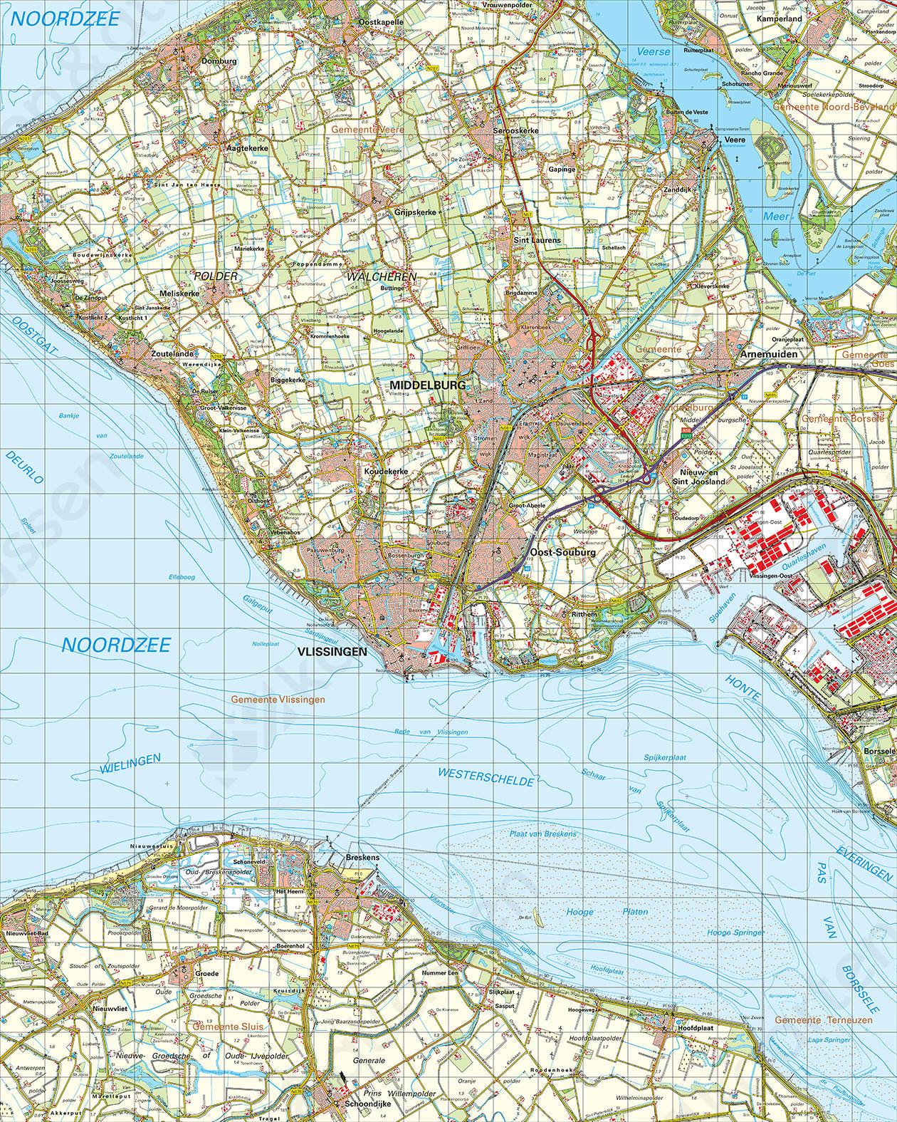 middelburg kaart Digitale Topografische Kaart 48 West Middelburg | Kaarten en