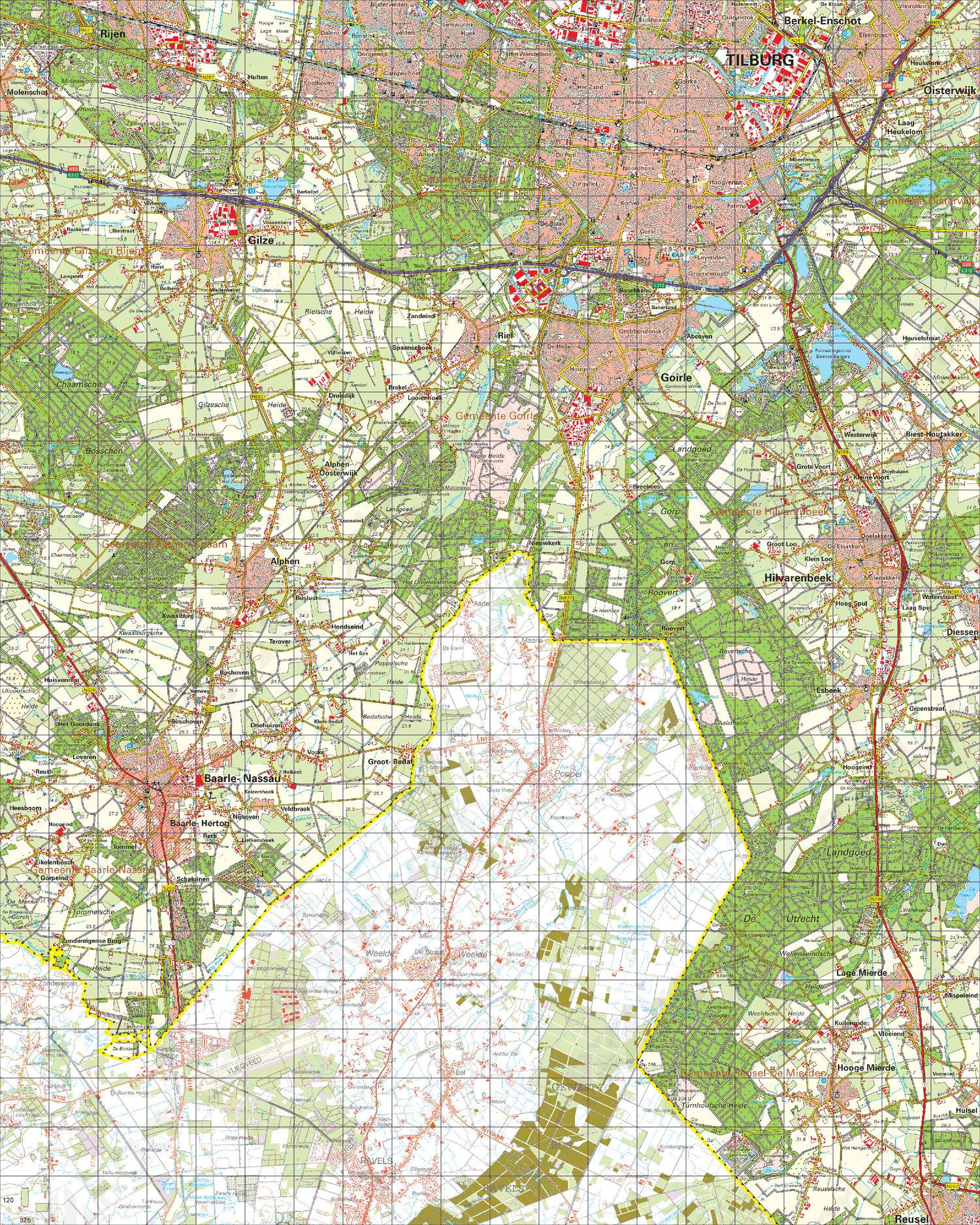 Topografische Kaart 50 Oost Tilburg