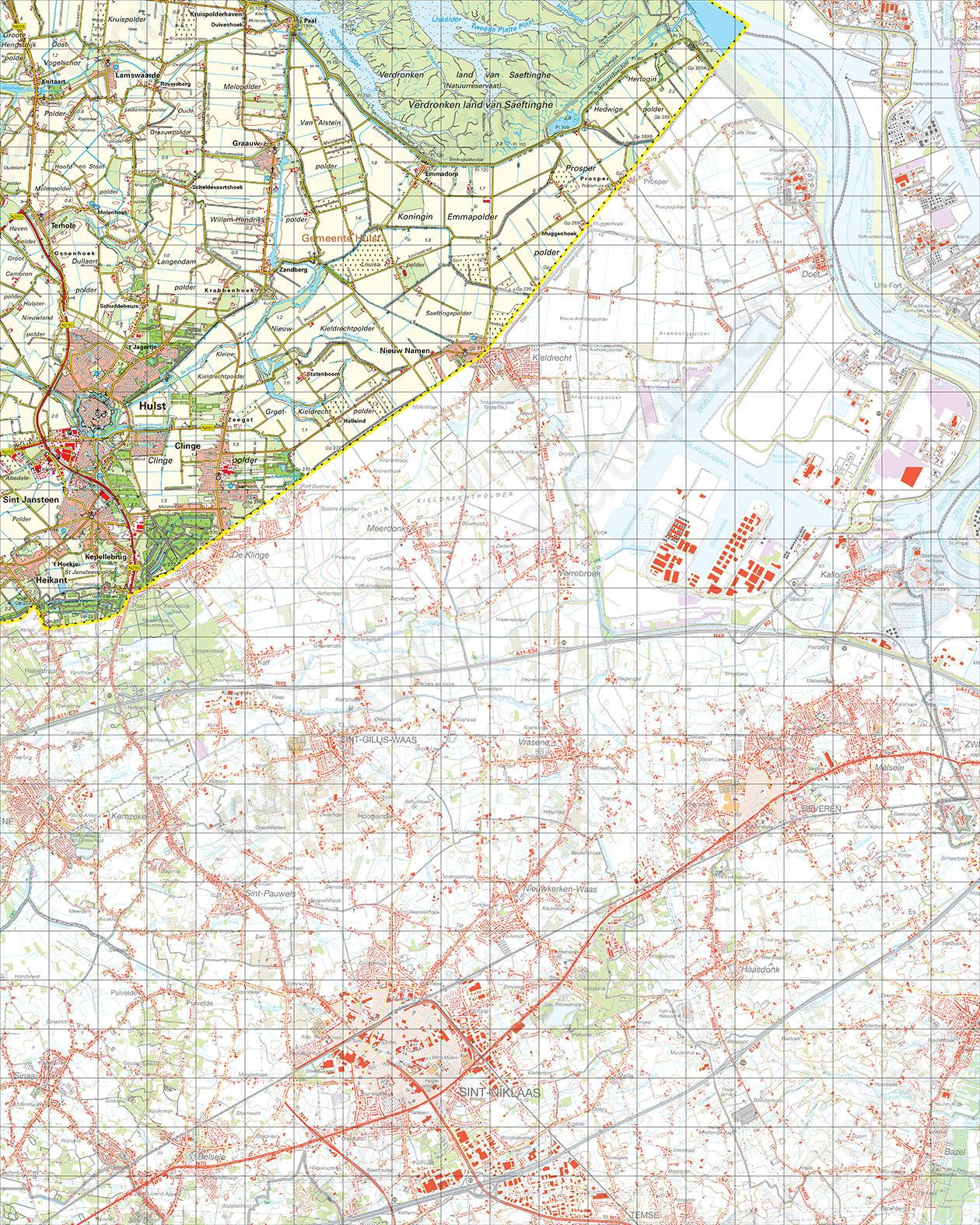 Topografische Kaart 55 West Hulst