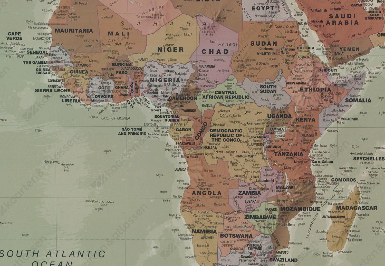 Staatkundige wereldkaart retro