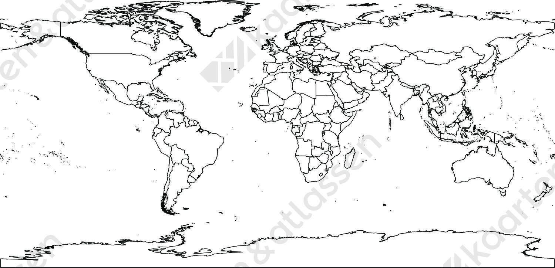 Digitale wereldkaart WGS84 projectie (gratis)