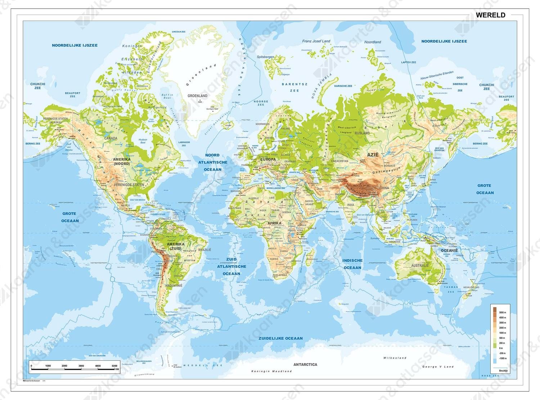 Digitale Natuurkundige Wereldkaart met breuklijnen