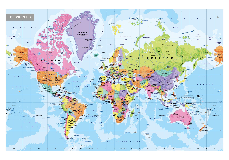 de wereld kaart Schoolkaarten Wereld | Kaarten en Atlassen.nl