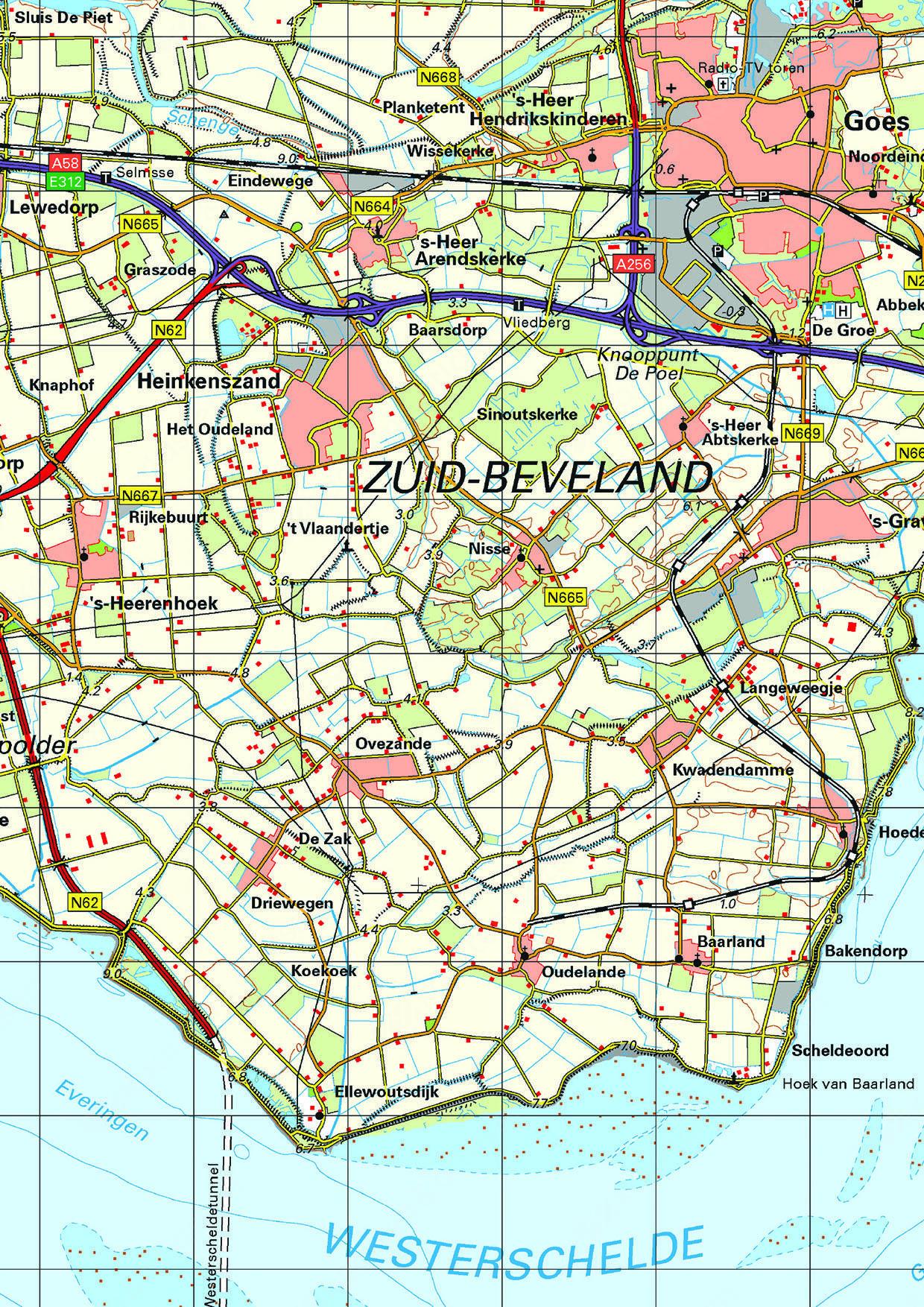 Topografische kaart Zeeland 1:100.000