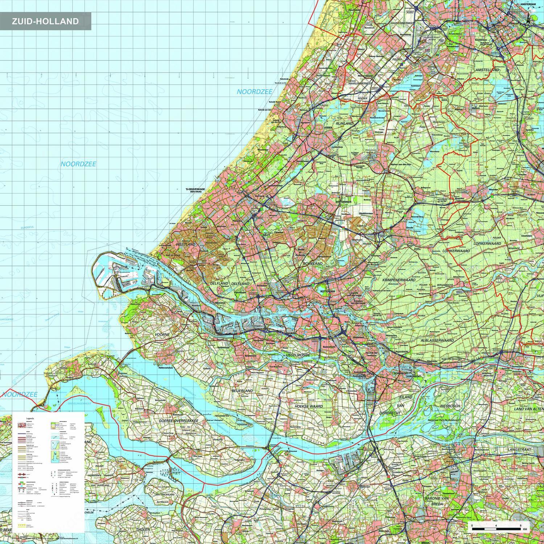 Topografische kaart Zuid-Holland 1:100.000