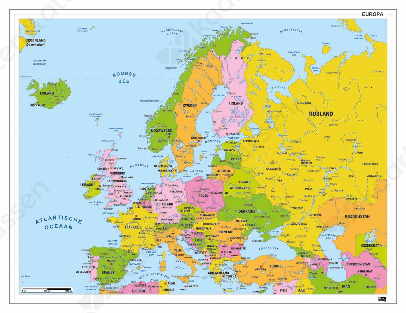 europa kaart met hoofdsteden Europakaart 161 | Kaarten en Atlassen.nl