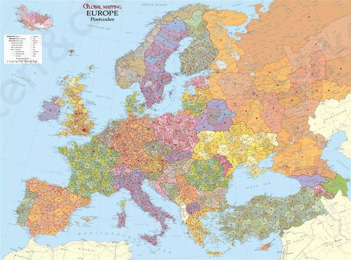 Postcodekaart Europa