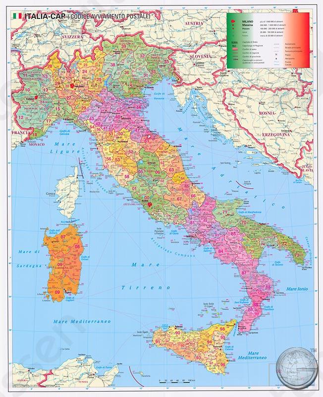 Postcodekaart Italie