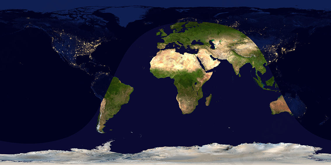 Digitale satellietbeeld dag en nacht