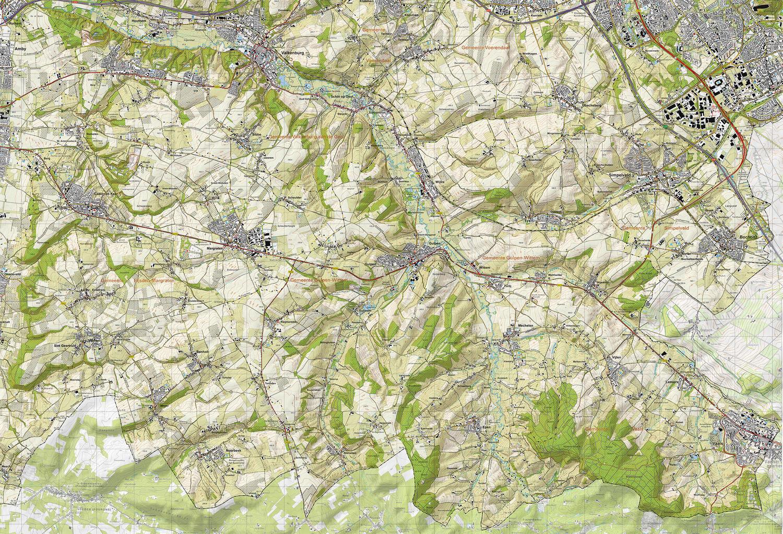 Topografische kaart Zuid Limburg - Het Geuldal (wandkaart)